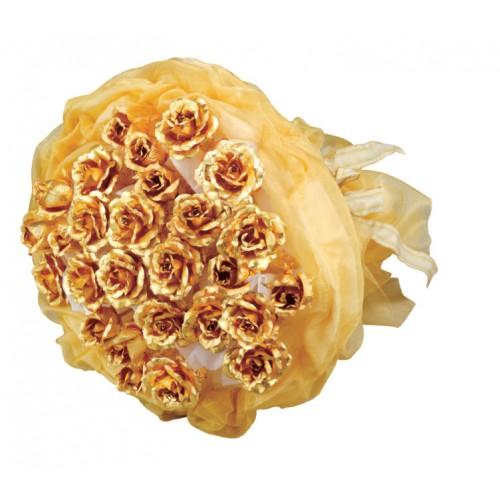 دسته گل رز طلا